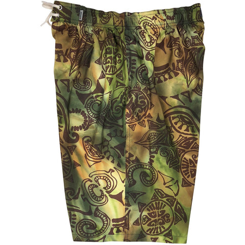 """Pacific Whim"" Mens Elastic Waist Board Shorts - 22"" Outseam / 9.5"" Inseam (Earth)"