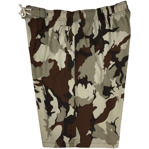 """Stealth Fanatic"" Camo Mens Elastic Waist Board Shorts - 22"" Outseam / 9.5"" Inseam (Sand+Brown)"