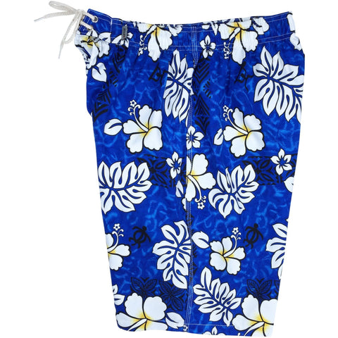 """Tribal Council"" Mens Elastic Waist Board Shorts - 22"" Outseam / 9.5"" Inseam (Blue, Red, Orange, Charcoal, Olive or Sand) - Board Shorts World - 1"