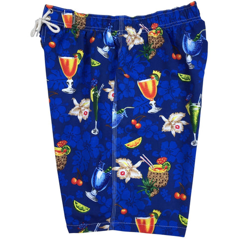 """Hurry Sundown"" Mens Elastic Waist Board Shorts - 19.5"" Outseam / 7"" Inseam (Blue) - Board Shorts World"