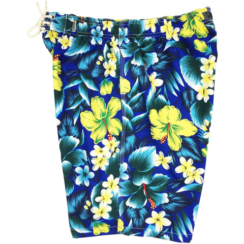 """Jungle Juice""  Mens Elastic Waist Board Shorts - 19.5"" Outseam / 7"" Inseam (Royal) - Board Shorts World"