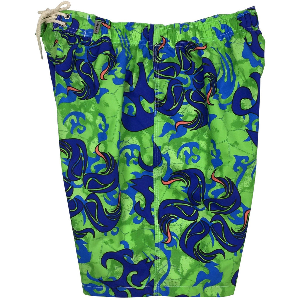 """Limelight""  Mens Elastic Waist Board Shorts - 19.5"" Outseam / 7"" Inseam - Board Shorts World"