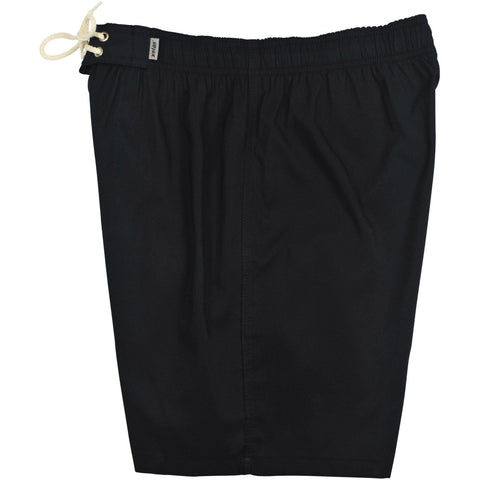 """A Solid Color"" Mens Elastic Waist Board Shorts - 19.5"" Outseam / 7"" Inseam (Black+Black Stitching and 5 other DARK colors!) - Board Shorts World - 1"