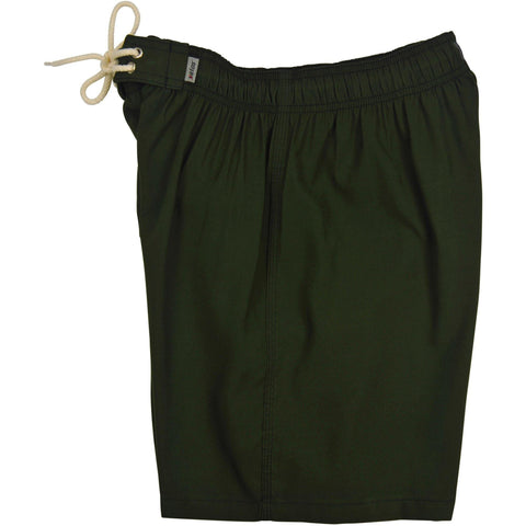 """A Solid Color"" Mens Elastic Waist Board Shorts - 17.5"" Outseam / 5"" Inseam (Dark Olive and 13 New Colors) - Board Shorts World - 1"