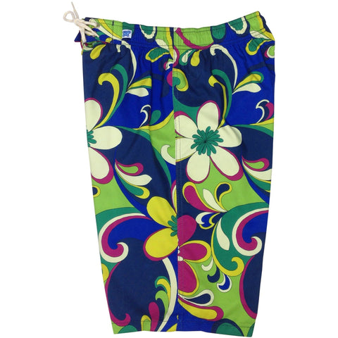 """Art Fest"" Womens Elastic Waist Swim Board Shorts. REGULAR Rise + 11"" Inseam - Board Shorts World"