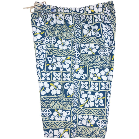 """Background Check"" Womens Elastic Waist Swim Board Shorts.  HIGH Rise + 11"" Inseam (Sea Green) **SALE**"