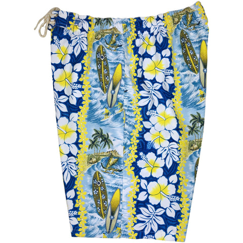 "**NEW** ""Bonus Round"" (Blue) Womens Elastic Waist Swim Board Shorts. REGULAR Rise + 11"" Inseam - Board Shorts World"