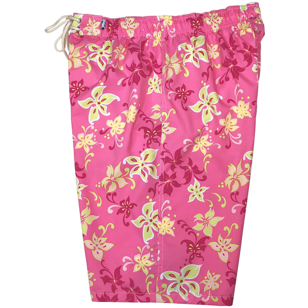 """Chick Flick"" Womens Elastic Waist Swim Board Shorts. HIGH Rise + 11"" Inseam (Pink)"