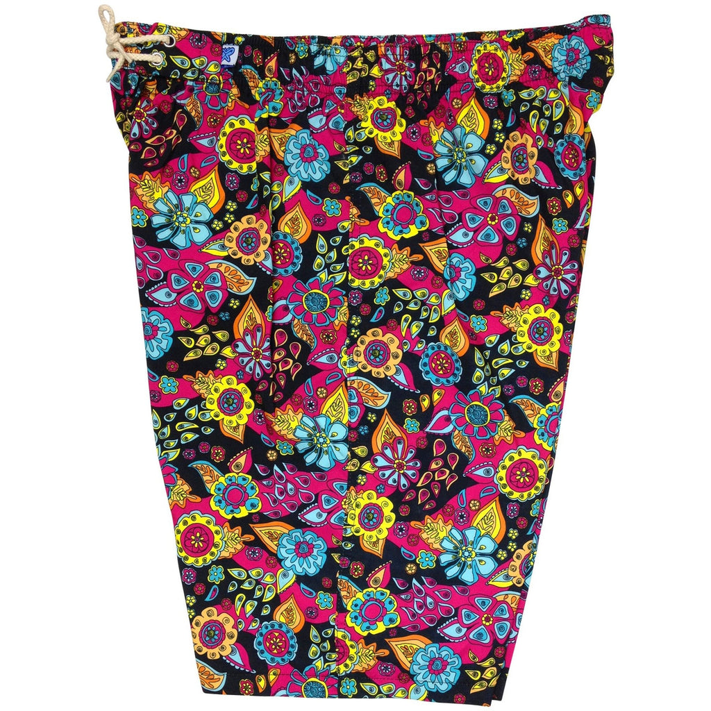 """Carnival"" Womens Elastic Waist Swim Board Shorts. REGULAR Rise + 11"" Inseam (Black, Red, Brown, or Purple) - Board Shorts World - 1"