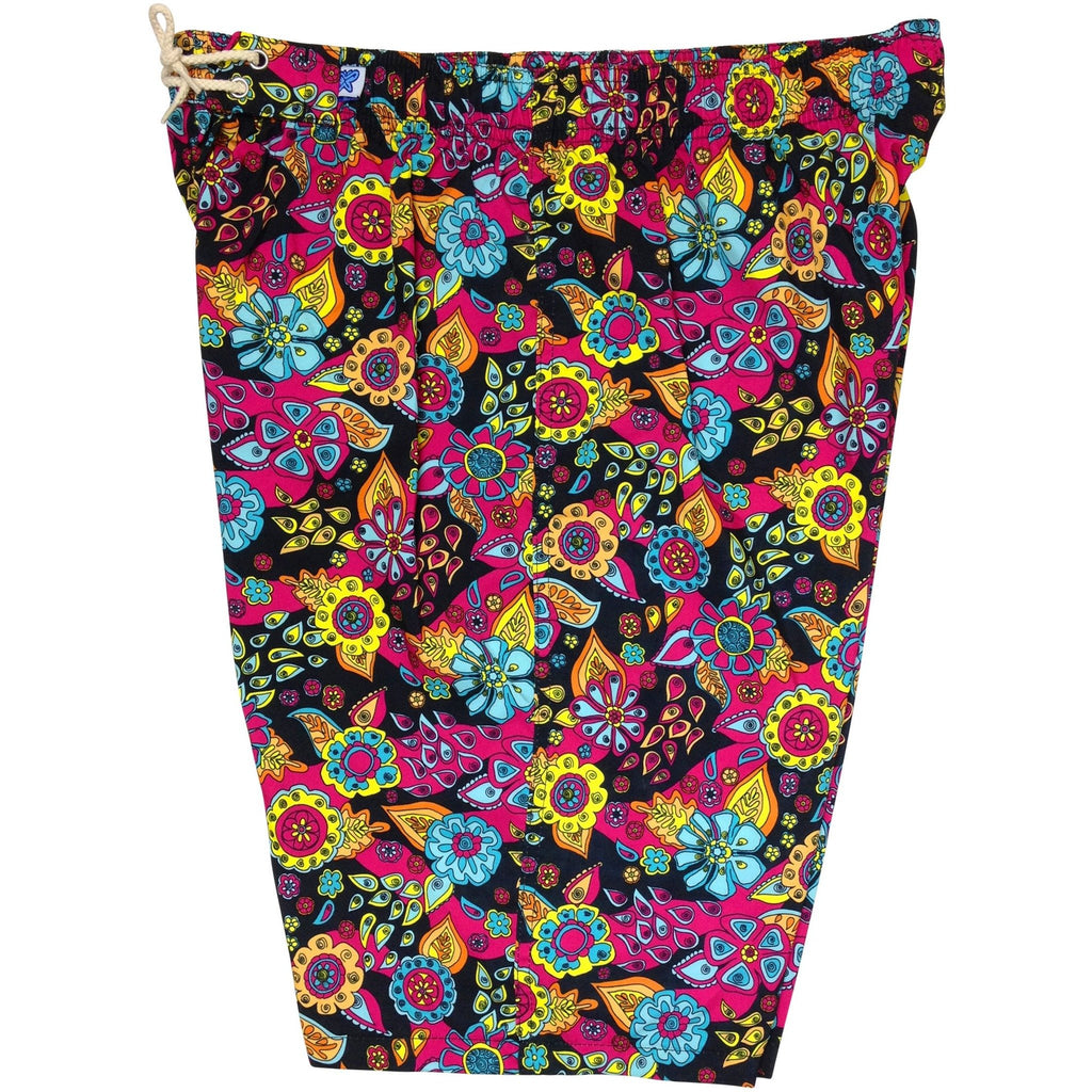 """Carnival"" Womens Elastic Waist Swim Board Shorts.  HIGH Rise + 11"" Inseam (Black)"
