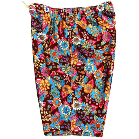 """Carnival"" Womens Elastic Waist Swim Board Shorts. REGULAR Rise + 11"" Inseam (Brown)"