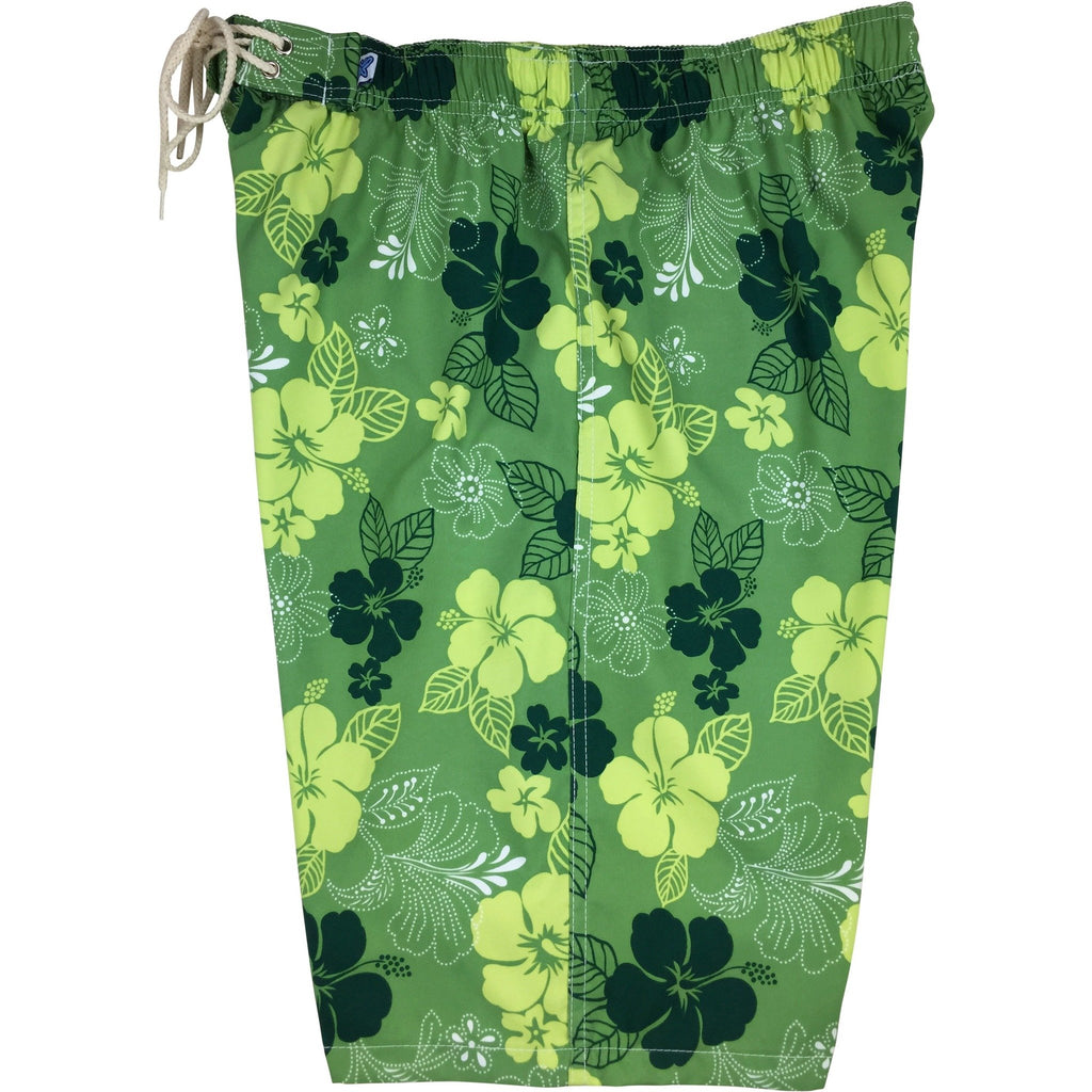 """Dew Drops"" Womens Elastic Waist Swim Board Shorts. REGULAR Rise + 11"" Inseam (Green)"