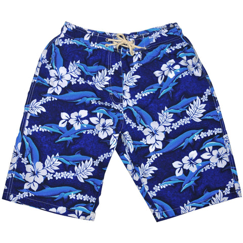 """Fins"" Womens Elastic Waist Swim Board Shorts. HIGH Rise + 11"" Inseam - Board Shorts World"