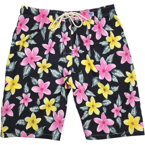 """Free Roaming"" Womens Elastic Waist Swim Board Shorts. HIGH Rise + 11"" Inseam (Black or Red) - Board Shorts World - 1"