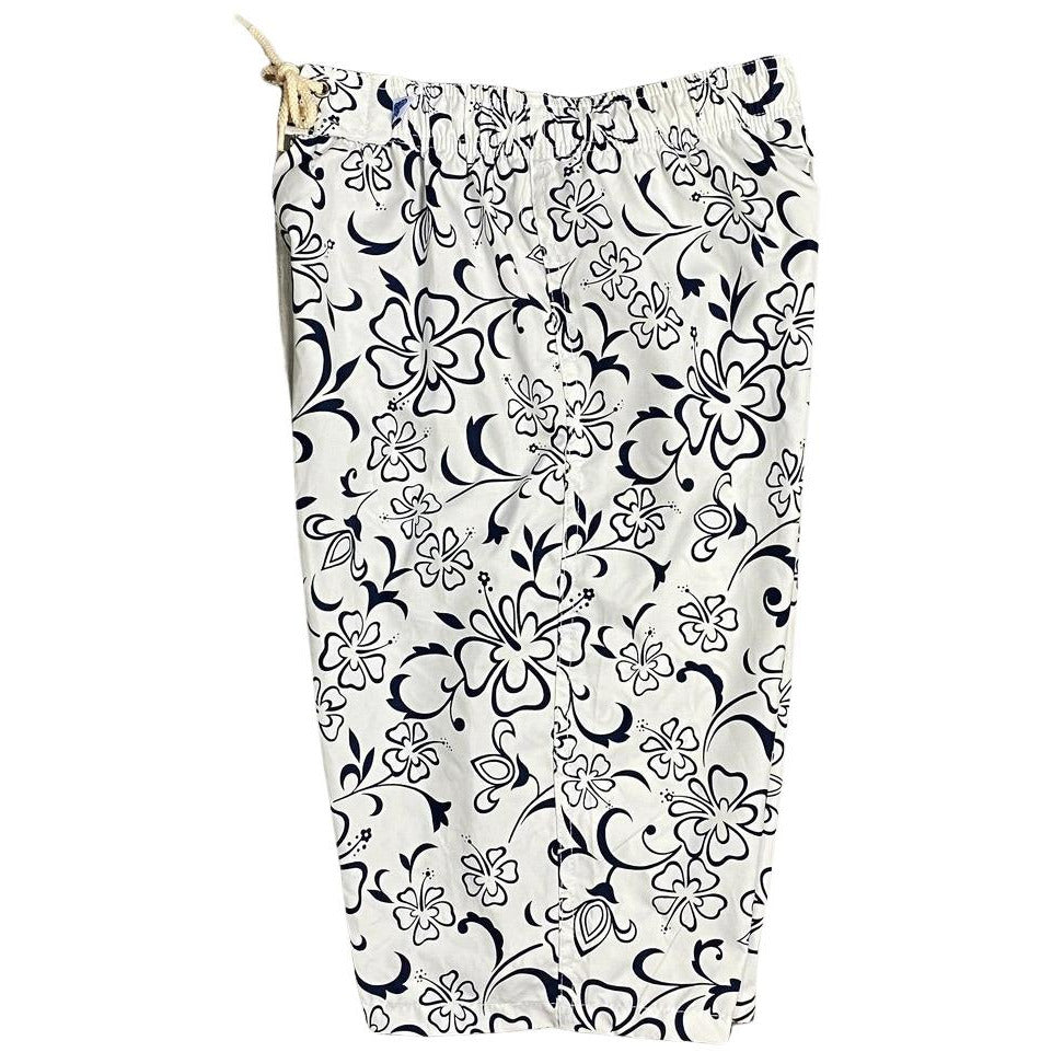 """Gone Coastal"" Womens Elastic Waist Swim Board Shorts.  HIGH Rise + 11"" Inseam (White)"