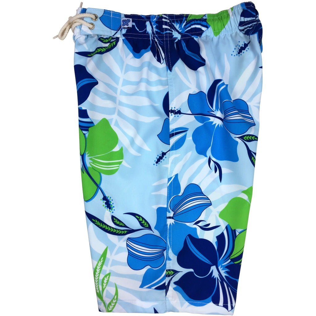 """Gypsy Soul"" (Blue) Womens Elastic Waist Swim Board Shorts. REGULAR Rise + 11"" Inseam"