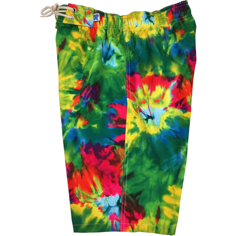 """Love N Haight"" Tie Dye Womens Elastic Waist Swim Board Shorts.  HIGH Rise + 11"" Inseam"