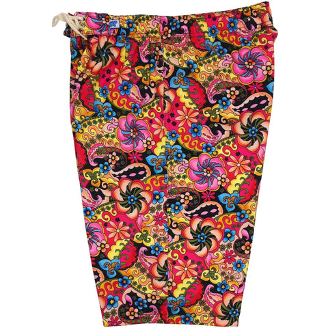 """Lucy in the Sky"" Womens Elastic Waist Swim Board Shorts.  HIGH Rise + 11"" Inseam (Black)"