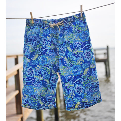"""Lucy in the Sky"" Womens Elastic Waist Swim Board Shorts.  HIGH Rise + 11"" Inseam (Blue) - Board Shorts World - 1"