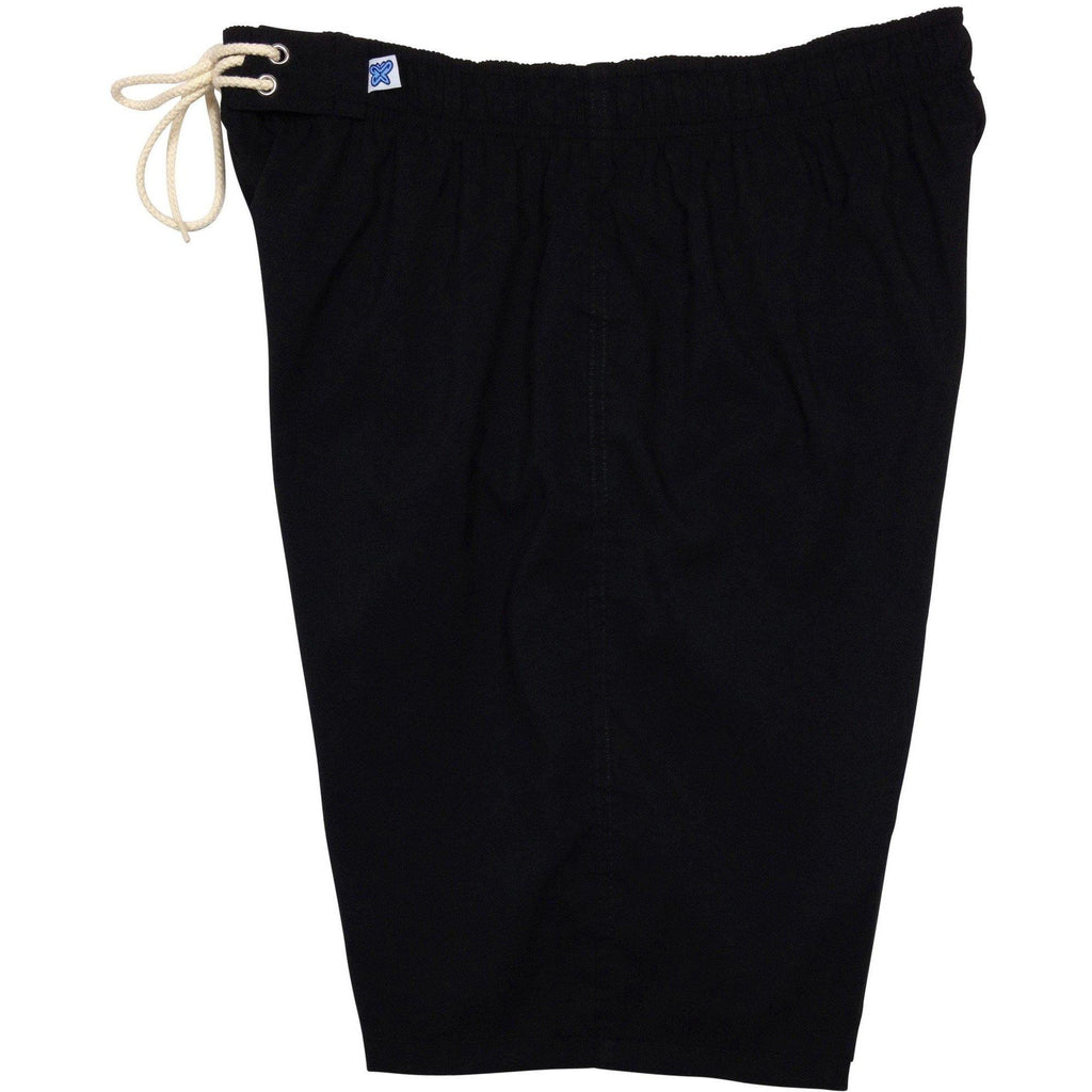 """A Solid Color"" Women's Elastic Waist (Swim) Board Shorts. HIGH Rise + 11"" Inseam (Black+Black stitch, Charcoal, Chocolate, Navy, Dark Olive or Cinnamon) - Board Shorts World - 1"