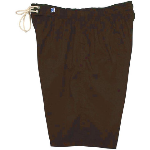 """A Solid Color"" Women's Elastic Waist (Swim) Board Shorts. HIGH Waist/Rise + 11"" Inseam (Chocolate)"