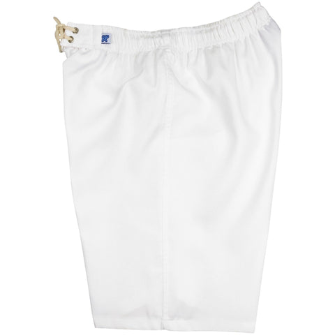 """A Solid Color"" Women's Elastic Waist (Swim) Board Shorts. HIGH Rise + 11"" Inseam (White) - Board Shorts World"
