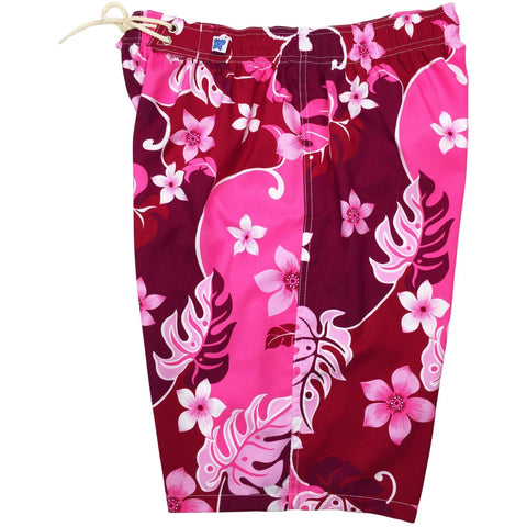 """  Puzzled"" Womens Elastic Waist Swim Board Shorts. REGULAR Rise + 11"" Inseam (Pink or Periwinkle) - Board Shorts World - 1"