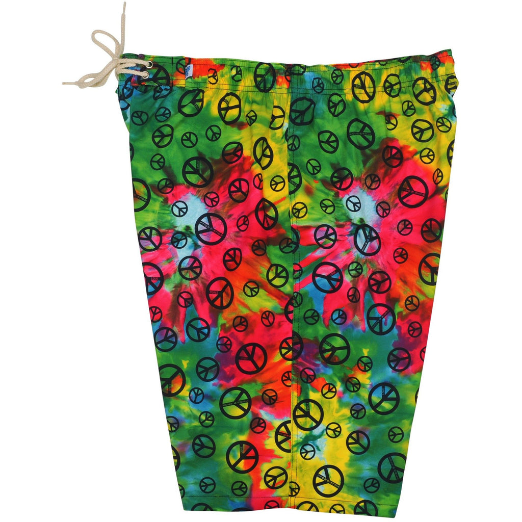 """Sign Language"" Tie Dye + Peace Signs Womens Elastic Waist Swim Board Shorts. HIGH Rise + 11"" Inseam - Board Shorts World"