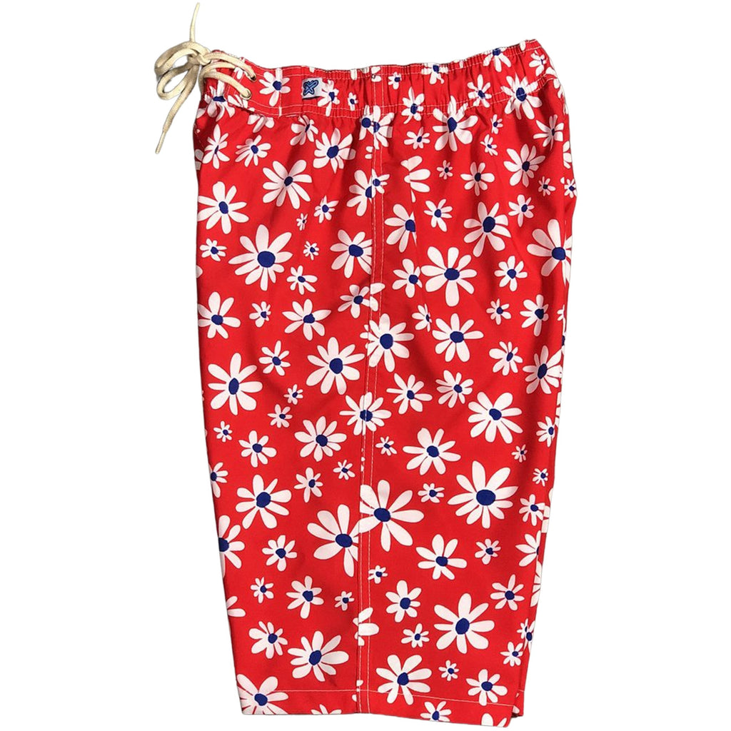 """Summer of Love"" Womens Elastic Waist Swim Board Shorts. REGULAR Rise + 11"" Inseam (Red)"