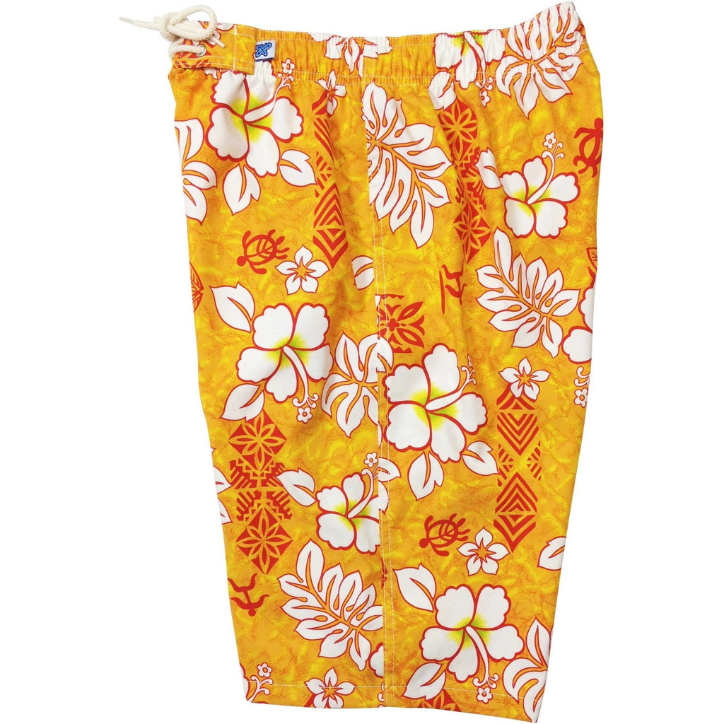 """Tribal Council"" Womens Elastic Waist Swim Board Shorts. REGULAR Rise + 11"" Inseam (Orange, Red, or Blue) - Board Shorts World - 1"
