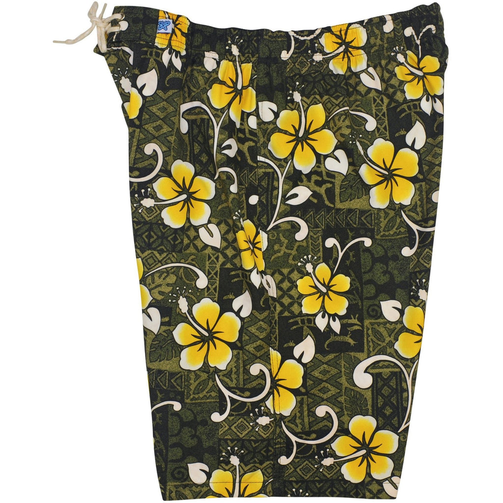 """Top Dog"" Womens Elastic Waist Swim Board Shorts. REGULAR Rise + 11"" Inseam (Olive or Blue) - Board Shorts World - 1"
