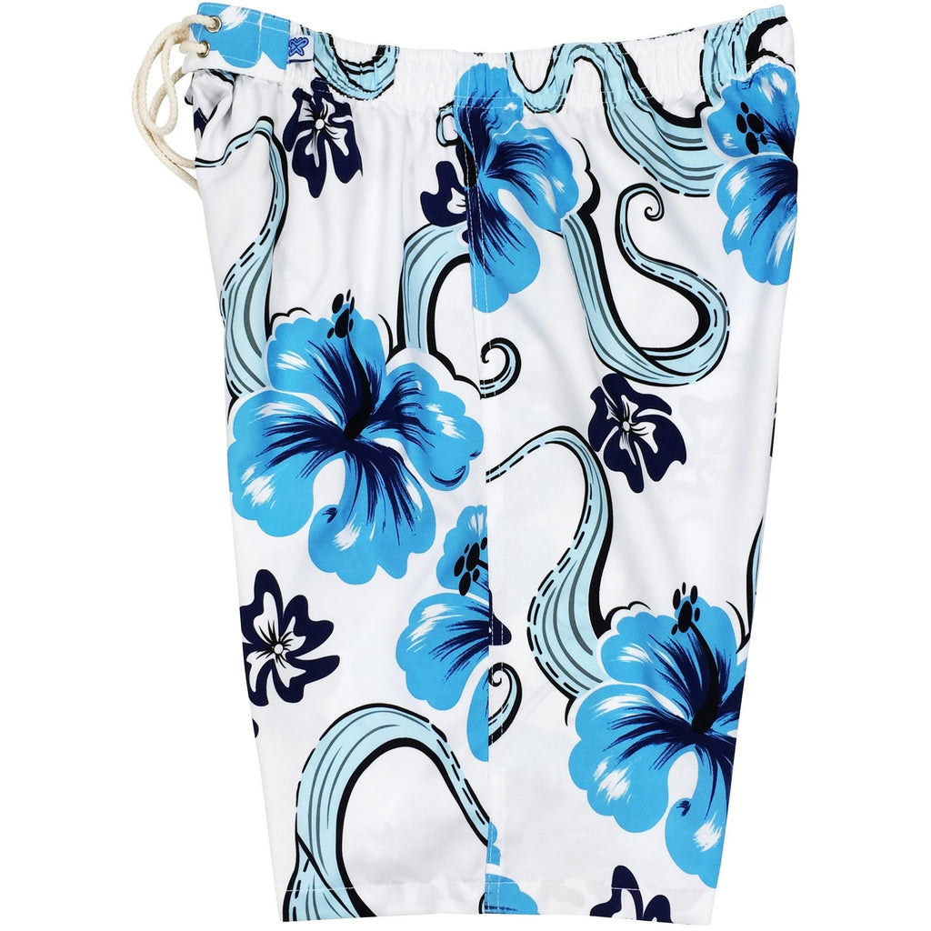 """Tailspin"" Womens Elastic Waist Swim Board Shorts.  HIGH Rise + 11"" Inseam (White, Blue, or Chocolate) - Board Shorts World"