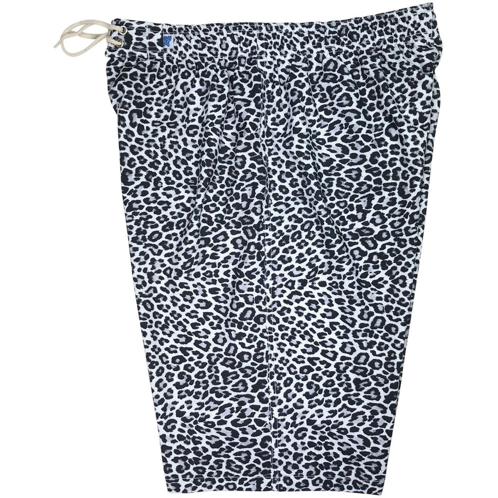 """Wild Weekend"" Cheetah Womens Elastic Waist Swim Board Shorts. REGULAR Rise + 11"" Inseam (Charcoal)"