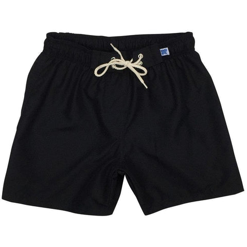"""A Solid Color"" Womens Elastic Waist Board (Swim) Shorts. HIGH Rise + 5"" Inseam (Black+Black stitch, Charcoal, Chocolate, Navy, Dark Olive or Cinnamon) - Board Shorts World - 1"