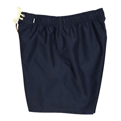 """ A Solid Color"" Womens Elastic Waist Board (Swim) Shorts. HIGH Waist/Rise + 5"" Inseam  (Navy)"