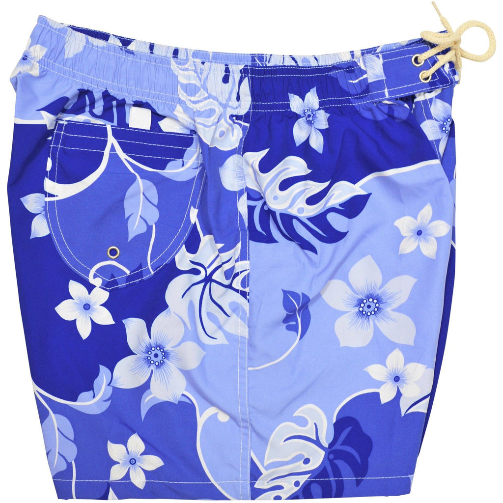 """Puzzled"" Womens Elastic Waist Swim Board Shorts. HIGH Rise + 5"" Inseam (Periwinkle or Pink) - Board Shorts World - 1"