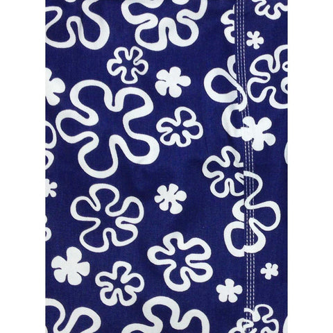 """Flower Power"" 100% Cotton Canvas Womens Board Shorts - Regular Rise / 7"" Inseam (Blue) - Board Shorts World"