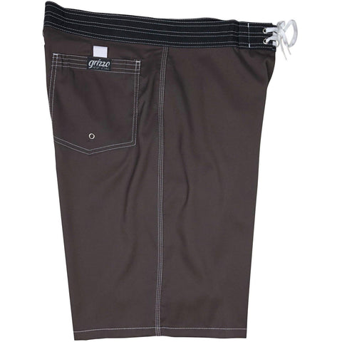 """A Solid Color"" Mens Board Shorts - 22"" Outseam / 9.5"" Inseam (Brown + White Stitching) *SALE* - Board Shorts World"