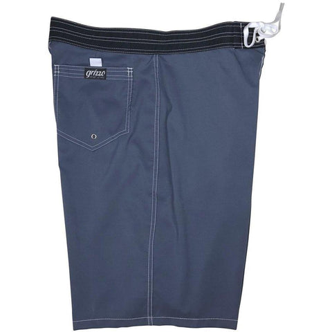 """A Solid Color"" Charcoal (white stitching) Back Pocket Board Shorts (Select Custom Outseam 22"" - 27"")"