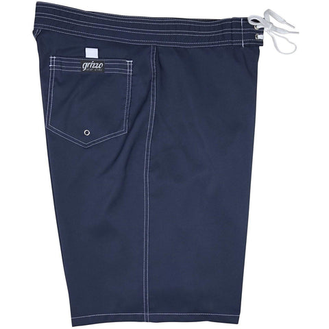 """A Solid Color"" Mens Board Shorts - 22"" Outseam / 9.5"" Inseam (Navy + White Stitching) *SALE* - Board Shorts World"