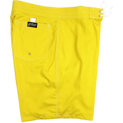 "Solid Men's Board Shorts,  7"" Inseam / 19.5"" Outseam.  Back Pocket (Mango) - Board Shorts World"