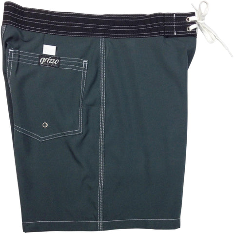 """A Solid Color"" Mens Board Shorts w/ Back Pocket.  17.5"" Outseam / 5"" Inseam (Charcoal, Apple, Baby Blue, Grape, Hot Pink, Orange, or Pacific) - Board Shorts World - 1"