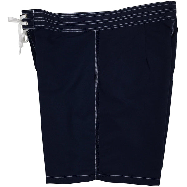 """A Solid Color"" Mens Board Shorts w/ Back Pocket.  17.5"" Outseam / 5"" Inseam (Navy) - Board Shorts World - 2"