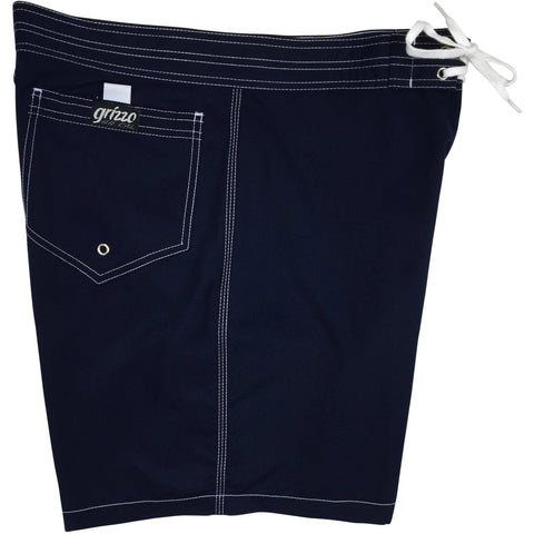 """A Solid Color"" Mens Board Shorts w/ Back Pocket.  17.5"" Outseam / 5"" Inseam (Navy) - Board Shorts World - 1"