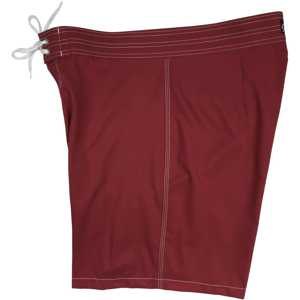 """A Solid Color"" Mens Board Shorts w/ Back Pocket.  17.5"" Outseam / 5"" Inseam (Wine) - Board Shorts World"