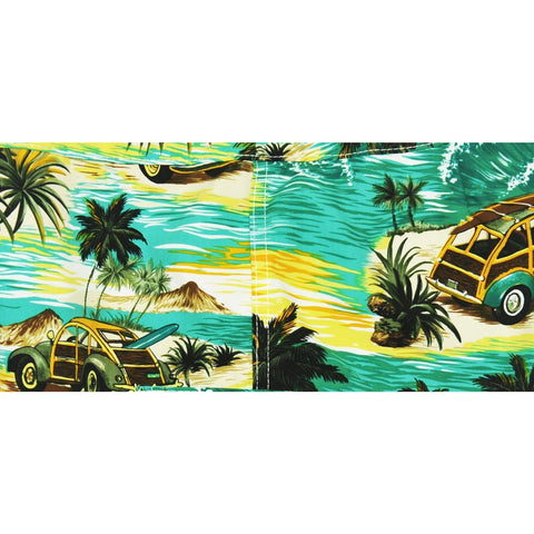 "Elastic Waist Board Shorts ""Getaway Car"" (Sea Teal) Print Mens CUSTOM - Board Shorts World"