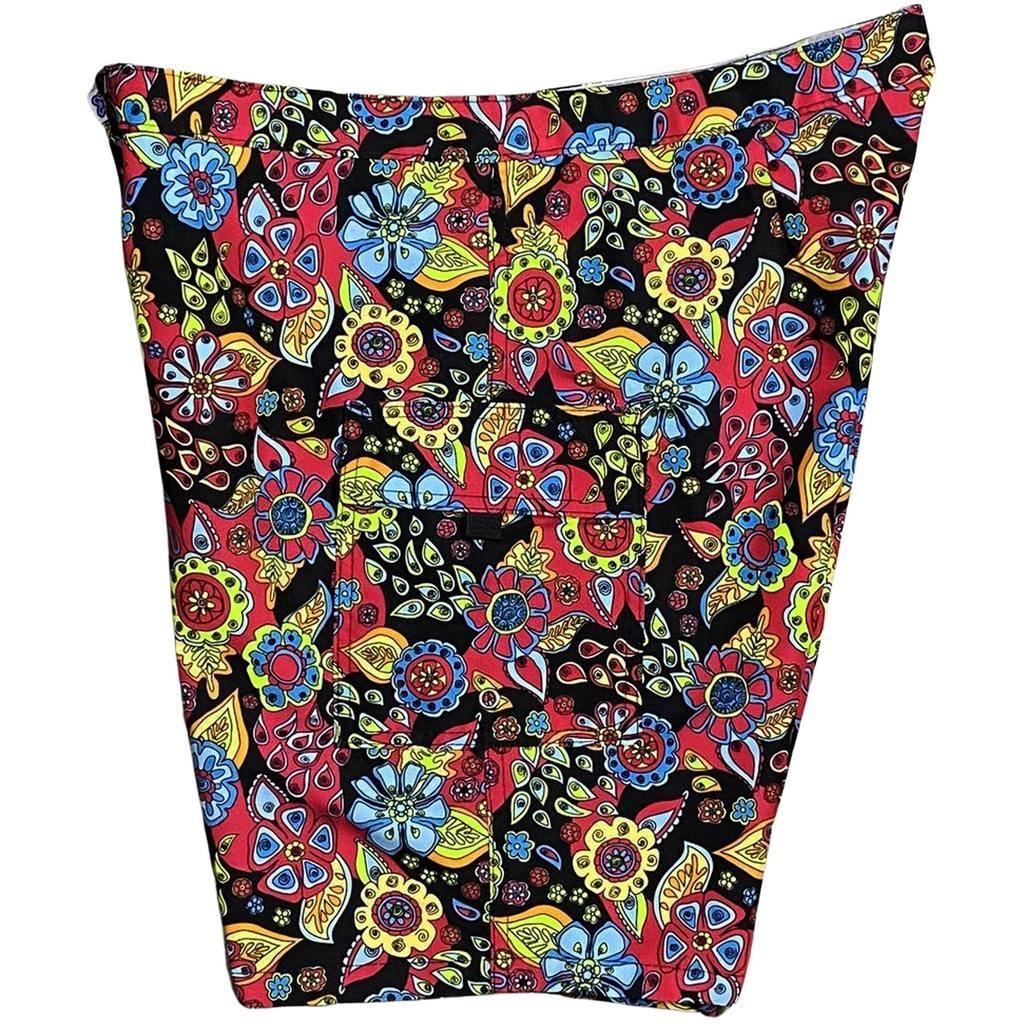 "Lower Rise NON-Elastic Waist Board Shorts. ""Carnival"" (Black). Womens CUSTOM"