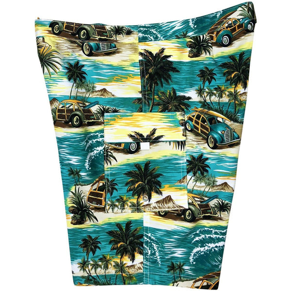 """Getaway Car"" Woodies Print Womens Board Shorts - Lower Rise / 11"" Inseam (Sea Teal or Charcoal)"
