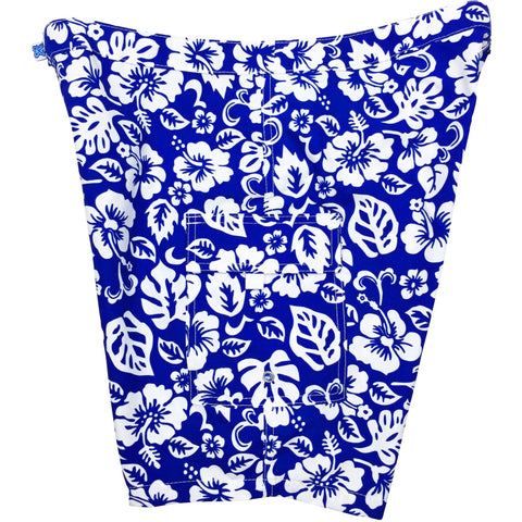 """Pure Hibiscus Too"" Womens Board Shorts - Lower Rise / 11"" Inseam (Royal) *SALE*"