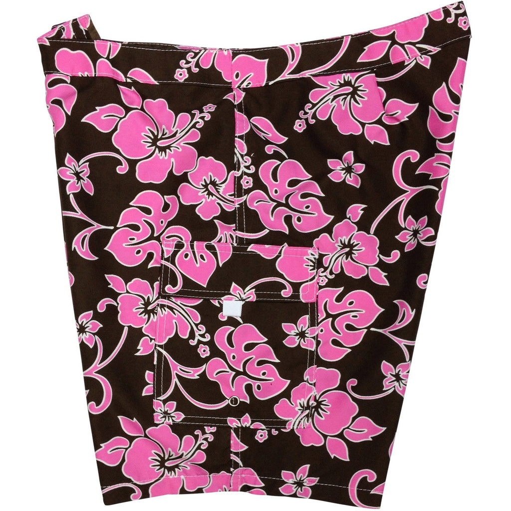 """Pure Hibiscus"" Womens Board Shorts - Lower Rise / 11"" Inseam (Brown+Pink or Brown+Blue) - Board Shorts World - 1"